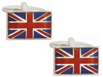 Dalaco 90-1021 Union Jack Flag Rhodium Plated Cufflinks
